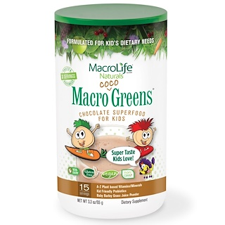 Macrolife Naturals, Macro Coco Greens, Chocolate SuperFood for Kids, 3.3 oz (95 g)