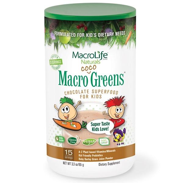 Macrolife Naturals, マクロココ・グリーン、子供向けチョコレート・スーパーフード、3.3 オンス(95 g) (Discontinued Item)