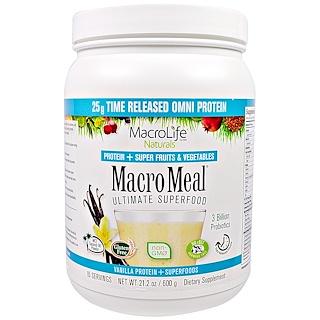 Macrolife Naturals, MacroMeal, Vanilla Protein + Superfoods, 21.2 oz (600 g)