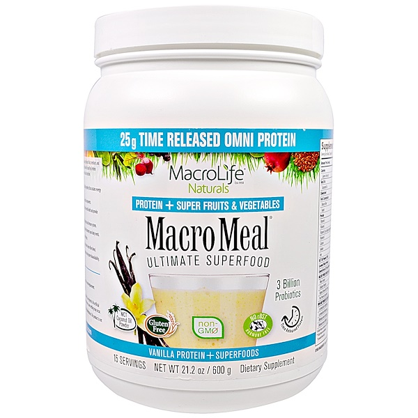 Macrolife Naturals, MacroMeal, Vanilla Protein + Superfoods, 21.2 oz (600 g) (Discontinued Item)