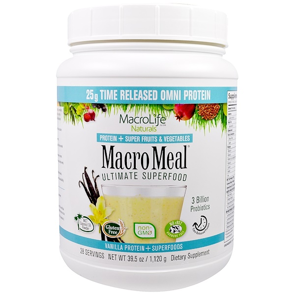 Macrolife Naturals, MacroMeal, Ultimate Superfood, Vanilla, 39.5 oz (1,120 g) (Discontinued Item)