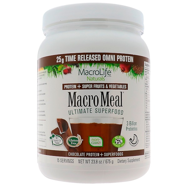 Macrolife Naturals, MacroMeal, Chocolate Protein + Superfoods, 23.8 oz (675 g) (Discontinued Item)