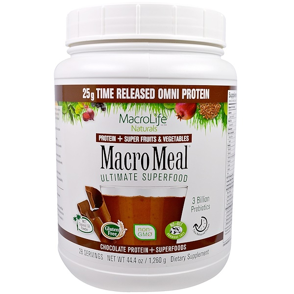 Macrolife Naturals, MacroMeal, Chocolate Protein + Superfoods, 44.4 oz (1,260 g) (Discontinued Item)