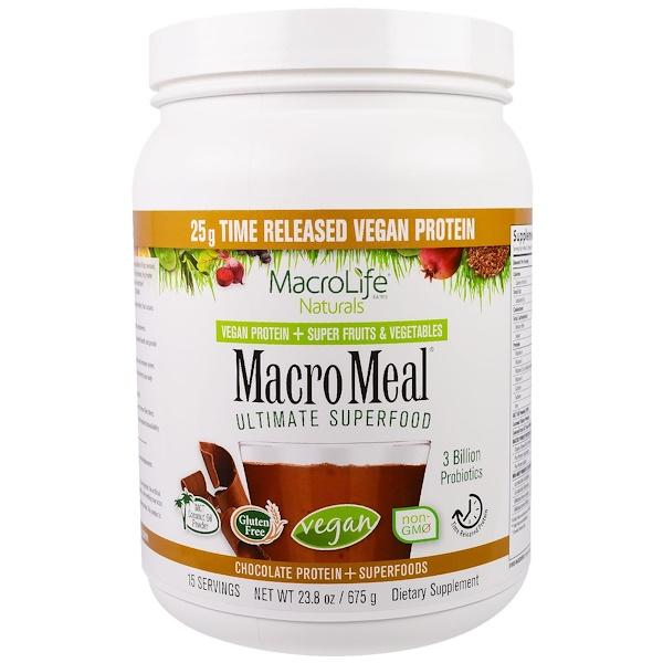 Macrolife Naturals, MacroMeal, Vegan, Chocolate Protein + Superfoods, 23.8 oz (675 g) (Discontinued Item)