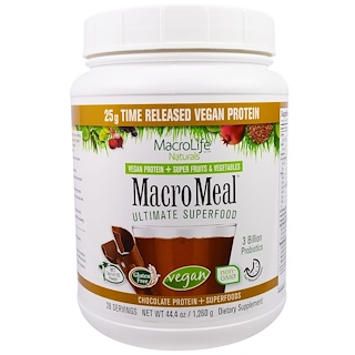 Macrolife Naturals, MacroMeal, Vegan, Chocolate Protein + Superfoods, 44.4 oz (1,260 g)