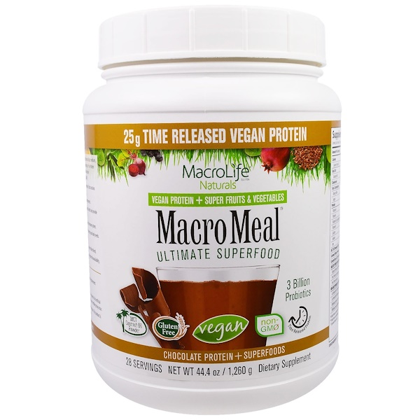 Macrolife Naturals, MacroMeal, Vegan, Chocolate Protein + Superfoods, 44.4 oz (1,260 g) (Discontinued Item)
