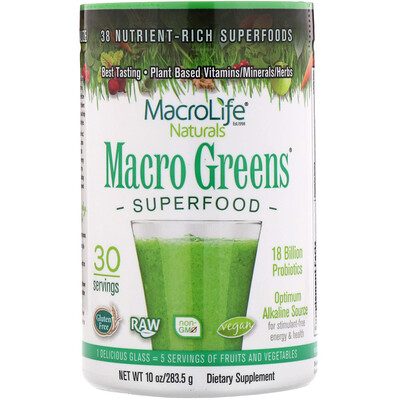 цена на Macro Greens, суперпродукт, богатый питательными веществами, 10 унций (283,5 г)