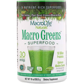 Macrolife Naturals, Macro Greens, Nutrient - Rich Superfoods, 10 oz (283.5 g)