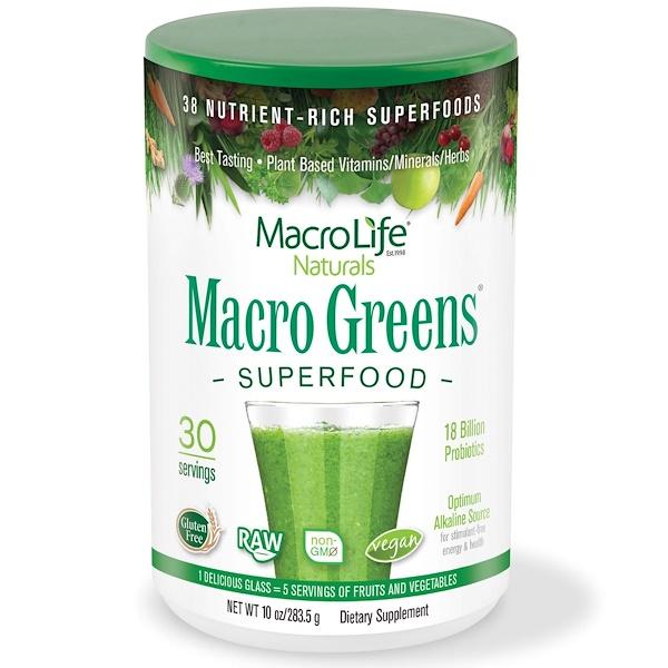 Macrolife Naturals, マクログリーン(Macro Greens), 栄養豊富なスーパーフード, 10オンス(283.5 g)