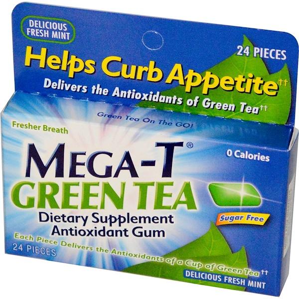 Mega-T, Green Tea, Antioxidant Gum, Delicious Fresh Mint, 24 Pieces (Discontinued Item)