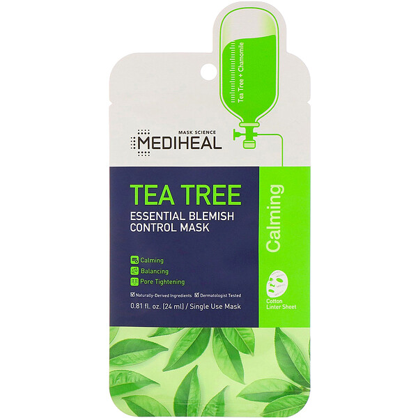 Tea Tree, Essential Blemish Control Beauty Mask, 1 Sheet, 0.81 fl oz (24 ml)