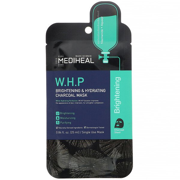 Mediheal, W.H.P, Brightening & Hydrating Charcoal Mask, 1 Sheet, 0.84 fl oz (25 ml)