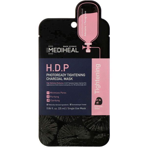 Mediheal, H.D.P, Photoready Tightening Charcoal Mask, 1 Sheet, 0.84 fl oz (25 ml)