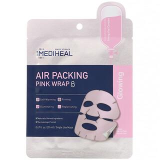 Mediheal, تغليف مناسب للهواء، قناع تجميلي وردي محكم، قناع ورقي واحد، 0.67 أونصة سائلة (20 مل)