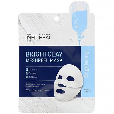 Купить Mediheal Brightclay, Meshpeel Mask, 1 Sheet, 0.59 oz. (17 g)