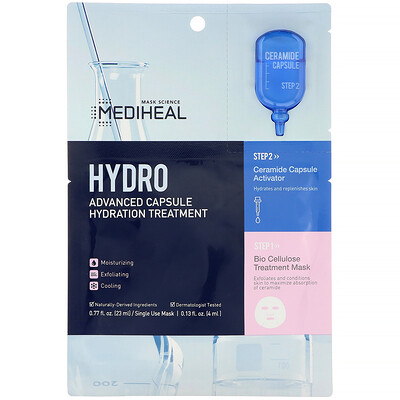 Купить Mediheal Hydro, Advanced Capsule Hydration Treatment Mask, 1 Sheet, 0.77 fl oz (23 ml)