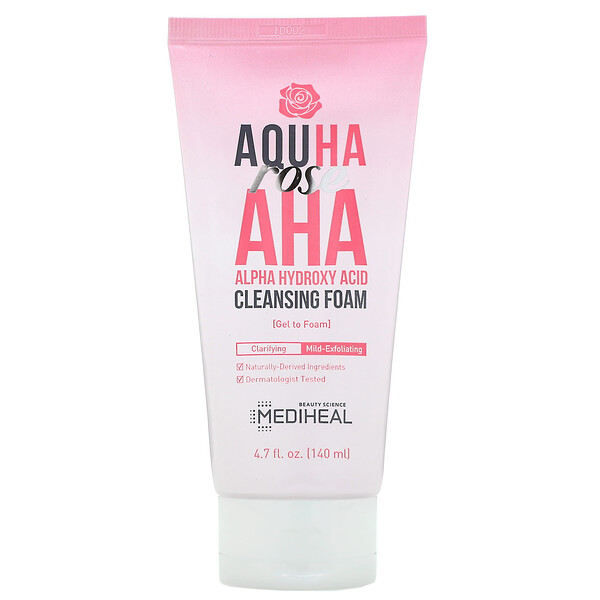 AQUHA Rose, AHA Cleansing Foam, 4.7 fl oz (140 ml)