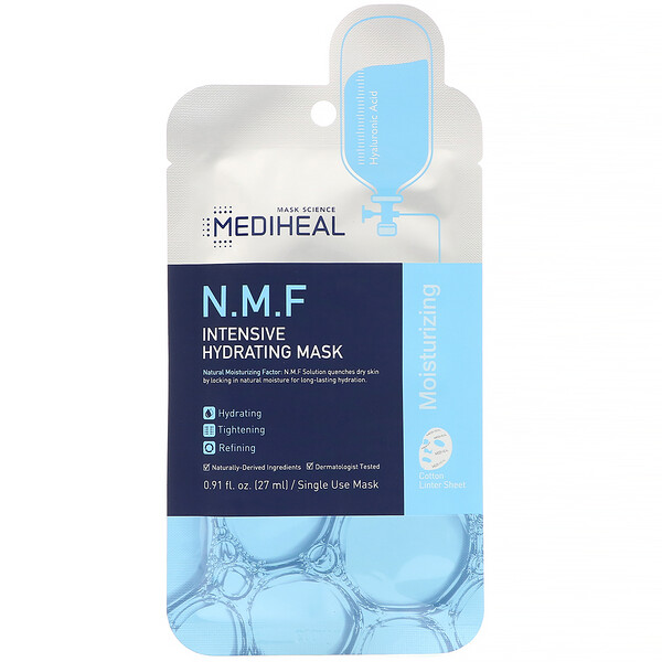 Mediheal, N.M.F Intensive Hydrating Beauty Mask, 5 Sheets, 0.91 fl oz (27 ml) Each