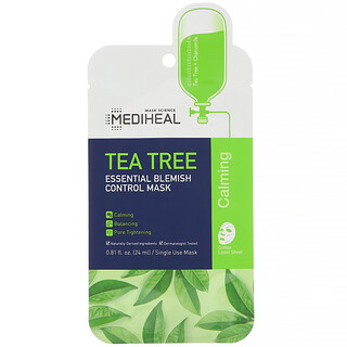 Mediheal, Tea Tree, Essential Blemish Control Beauty Mask, 5 Sheets, 0.81 fl oz (24 ml) Each