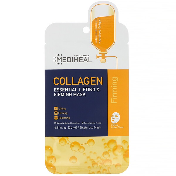 Mediheal, Collagen, Essential Lifting & Firming Beauty Mask, 5 Sheets, 0.81 fl oz (24 ml) Each