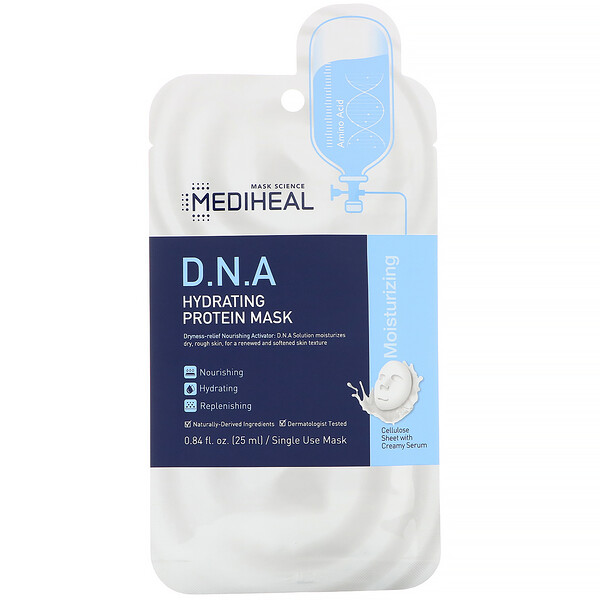 Mediheal, D.N.A Hydrating Protein Mask, 5 Sheets, 0.84 fl oz (25 ml) Each