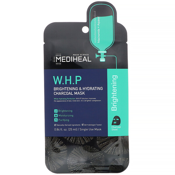 Mediheal, W.H.P, Brightening & Hydrating Charcoal Beauty Mask, 5 Sheets, 0.84 fl oz (25 ml) Each