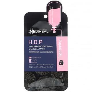 Mediheal, قناع تجميلي بالفحم لشد البشرة استعدادًا للصور، بمحلول البشرة المثالية عالية النقاء، 5 أقنعة ورقية، 0.84 أونصة سائلة (25 مل) لكل قناع