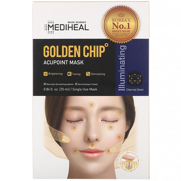 Mediheal, Máscara de acuponto com chip dourado, 5 folhas, 25 ml cada