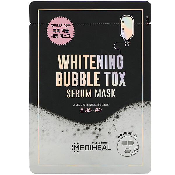 Mediheal, Whitening Bubble Tox Serum Beauty Mask, 10 Sheets, 21 ml Each