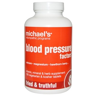 Michael's Naturopathic, Blood Pressure Factors, 180 Veggie Tabs