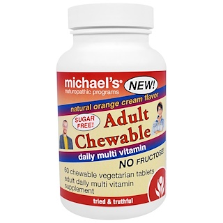 Michael's Naturopathic, Adult Chewable Daily Multi Vitamin, Natural Orange Cream Flavor, 60 Chewable Vegan Wafers