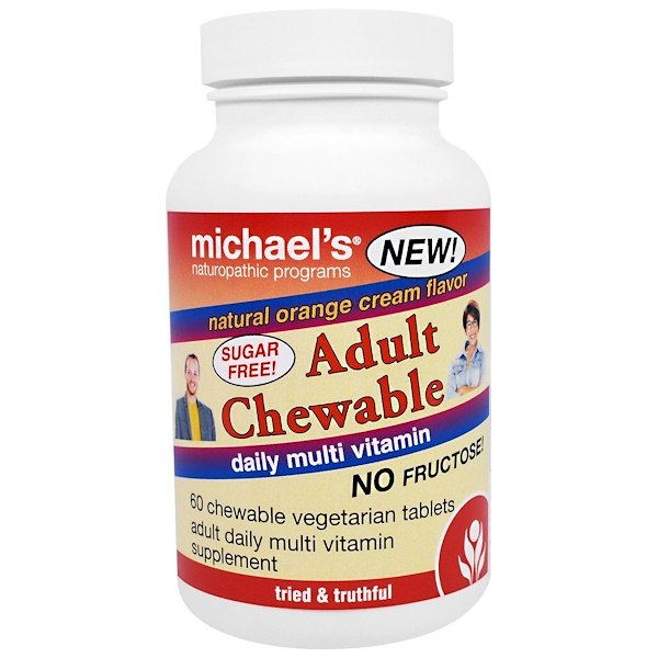 Michael's Naturopathic, Adult Chewable Daily Multi Vitamin, Natural Orange Cream Flavor, 60 Chewable Vegan Wafers (Discontinued Item)