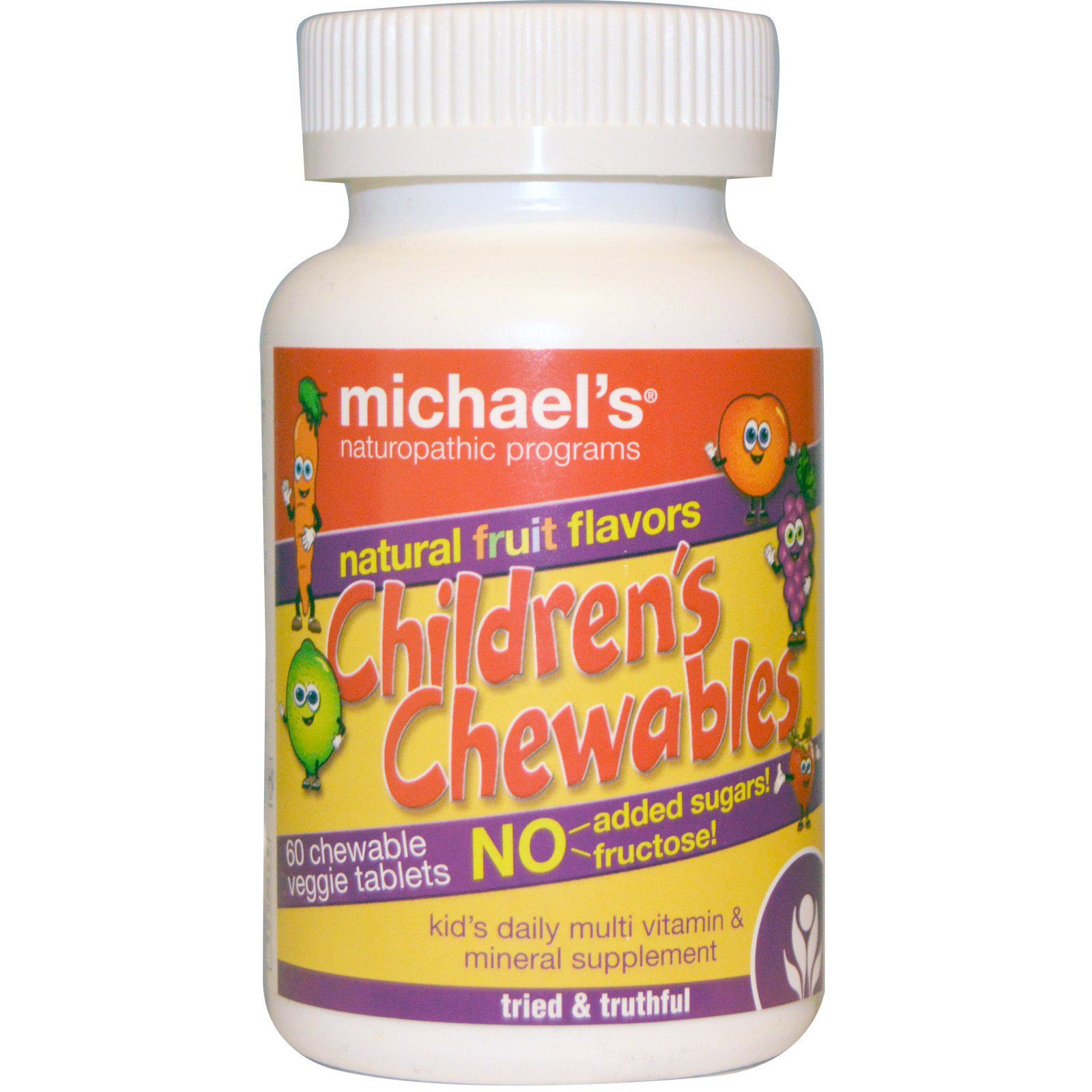 Michael's Naturopathic, Жевательная добавка для детей, с натуральным фруктовым вкусом, 60 жевательных таблеток на растительной основе