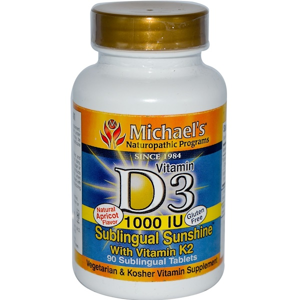 Michael's Naturopathic, Vitamin D3 with Vitamin K2, Natural Apricot Flavor, 1000 IU, 90 Sublingual Tablets (Discontinued Item)