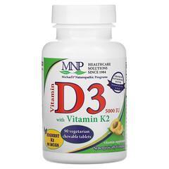 Michael's Naturopathic, 維生素 D3 含維生素 K2,杏仁味,5000 國際單位,90 片素食咀嚼片