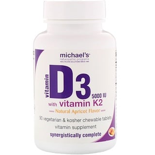 Michael's Naturopathic, Vitamin D3, with Vitamin K2, Natural Apricot Flavor, 5,000 IU, 90 Chewable Tablets