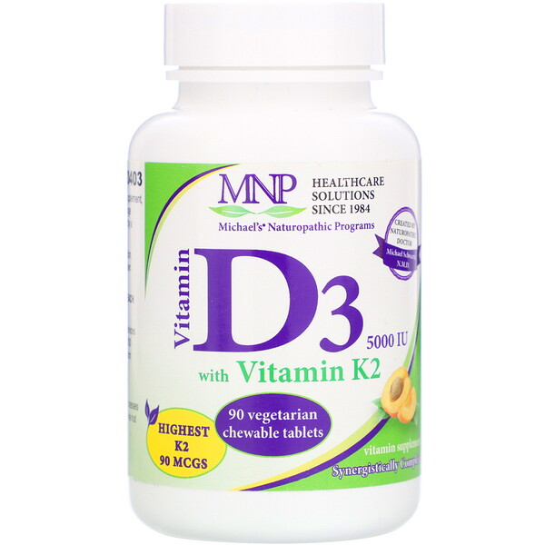 Vitamin D3 with Vitamin K2, Natural Apricot Flavor, 5,000 IU, 90 Vegetarian Chewable Tablets