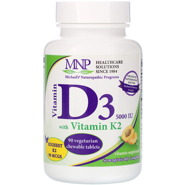 Vitamin D3 with Vitamin K2, Natural Apricot Flavor, 125 mcg (5,000 IU), 90 Vegetarian Chewable Tablets