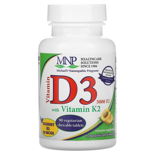 Vitamin D3 with Vitamin K2, Apricot, 5,000 IU, 90 Vegetarian Chewable Tablets