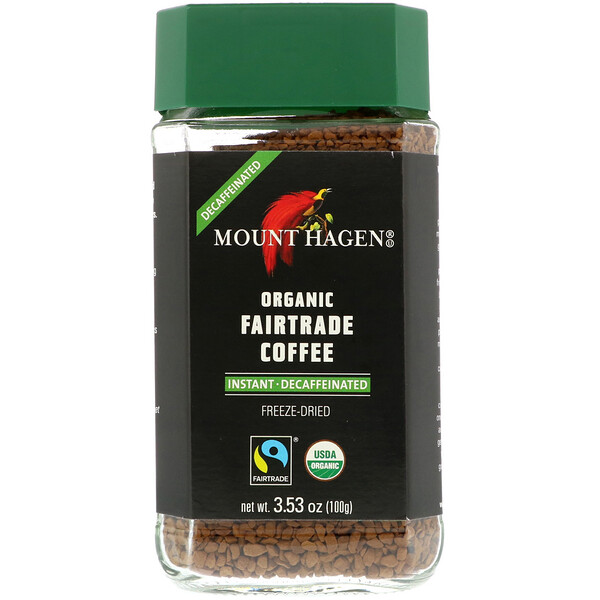 Organic Fairtrade Coffee, Instant, Decaffeinated, 3.53 oz (100 g)