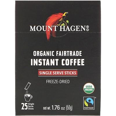 Купить Mount Hagen Органический растворимый кофе, закупленный по принципам справедливой торговли, 25 порционных пакетиков-стиков, 1, 76 унц. (50 г)