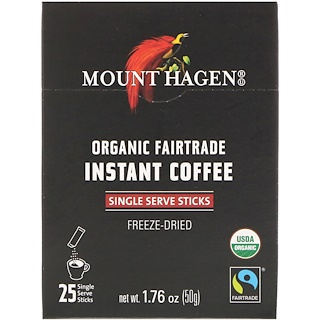 Mount Hagen, قهوة عضوية فورية مصنعة وفقاً للتجارة العادلة، 25 ظرف تقديم، 1.76 أوقية (50 غرام)