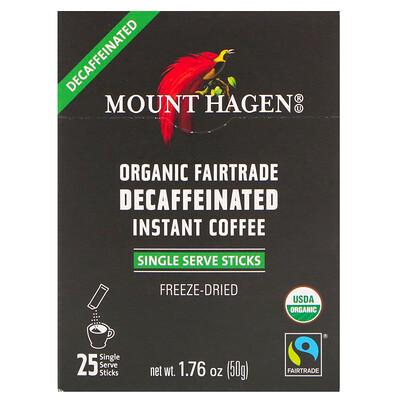 Купить Mount Hagen Органический растворимый кофе без кофеина, закупленный по принципам справедливой торговли, 25 порционных пакетиков-стиков, 50 г
