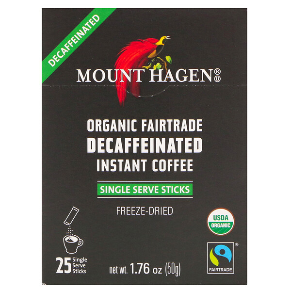 Mount Hagen, Organic Fairtrade Decaffeinated Instant Coffee, 25 Single Serve Sticks, 1.76 oz (50 g)
