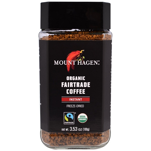Mount Hagen, オーガニックフェアトレードコーヒー, インスタント, フリーズドライ, 3.53オンス(100 g) (Discontinued Item)