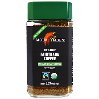 Mount Hagen, マウントハーゲン, Organic-Café, Decaffeinated, Freeze Dried Instant Coffee, 3.53 oz (100 g)