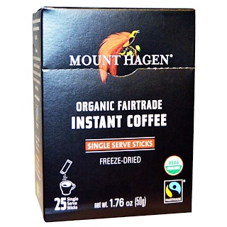 Mount Hagen, Organic Fairtrade Instant Coffee, 25 Packets, 1.76 oz (50 g)