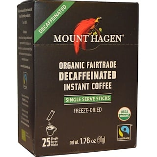 Mount Hagen, Organic Fairtrade, Decaffeinated Instant Coffee, 25 Sticks, 1.76 oz (50 g)
