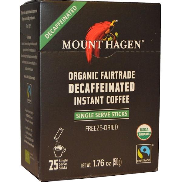 Mount Hagen, オーガニック・フェアトレード・インスタントデカフェ、25スティック、1.76オンス(50 g)