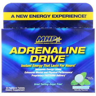 Maximum Human Performance, LLC, Adrenaline Drive, Peppermint, 30 Fastsorb Tablets
